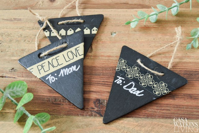 DIY chalkboard gift tags from a banner