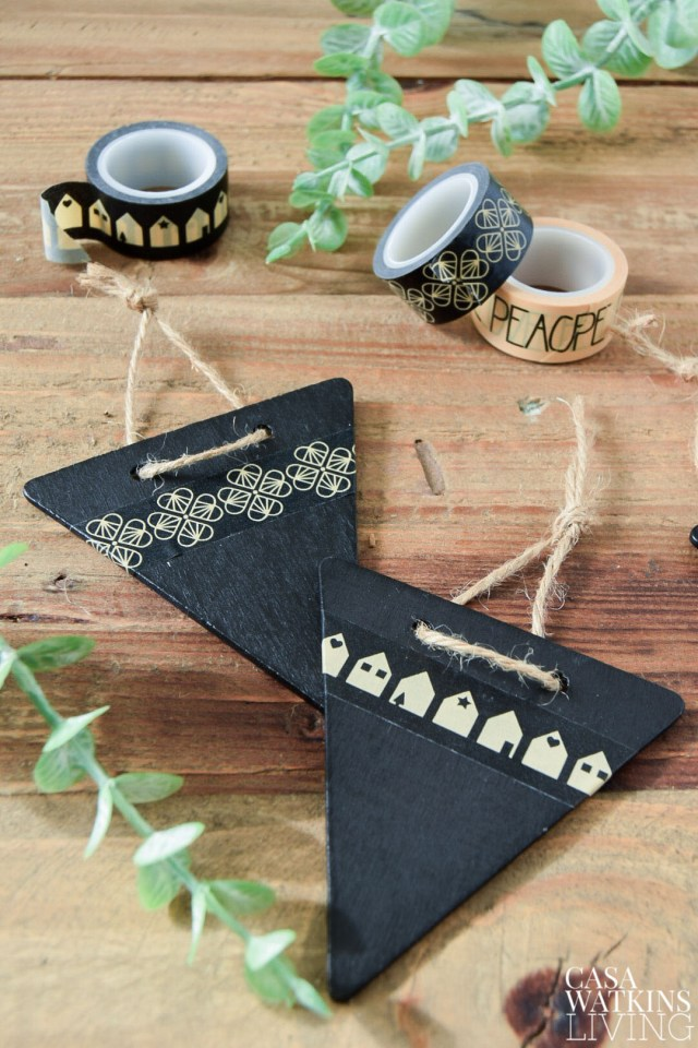 DIY chalkboard gift tags with washi tape