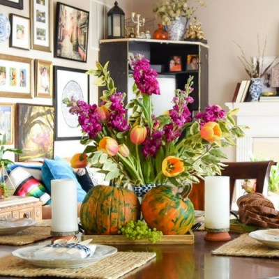 Make A Pumpkin Tray Centerpiece With Kids!