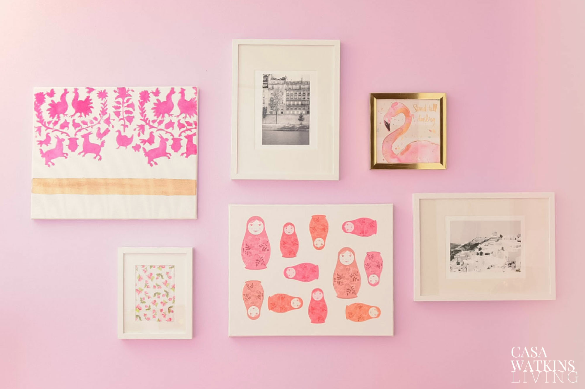 girls room gallery wall with DIY art