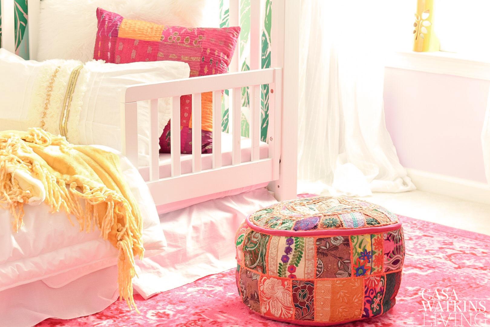 colorful boho girls room makeover