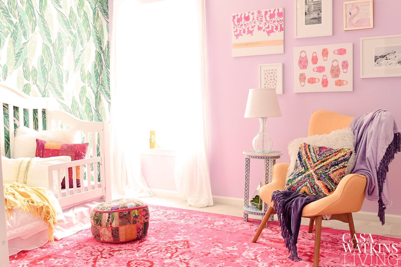 boho girls room makeover with purple walls