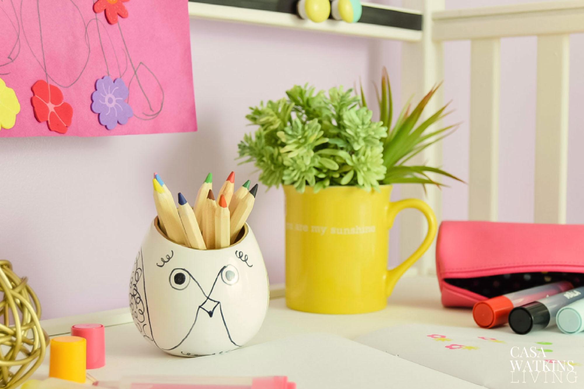 DIY Kate Spade pencil holder on kid's desk