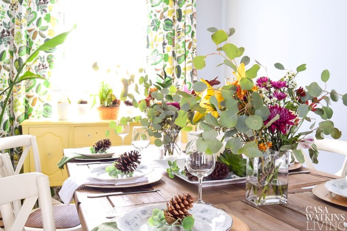 decorating with pinecones for winter tablescape