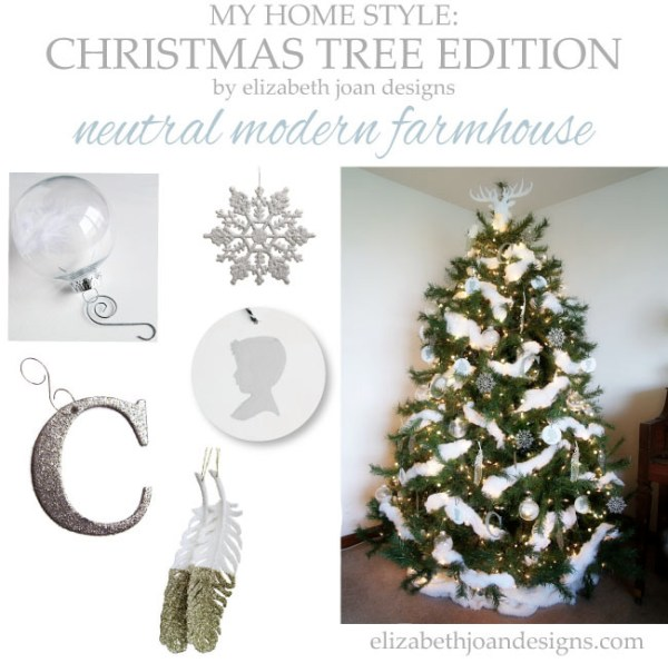 Neutral modern farmhouse Christmas tree by Elizabeth Joan Designs