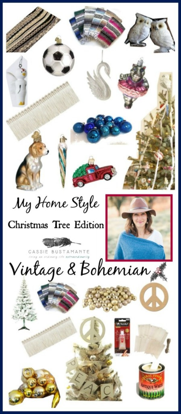 Vintage bohemian Christmas tree by Cassie Bustamante
