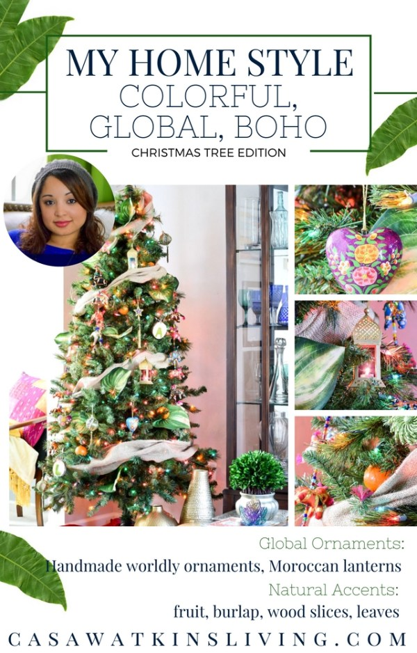 global boho christmas tree with Moroccan and Indian vibes