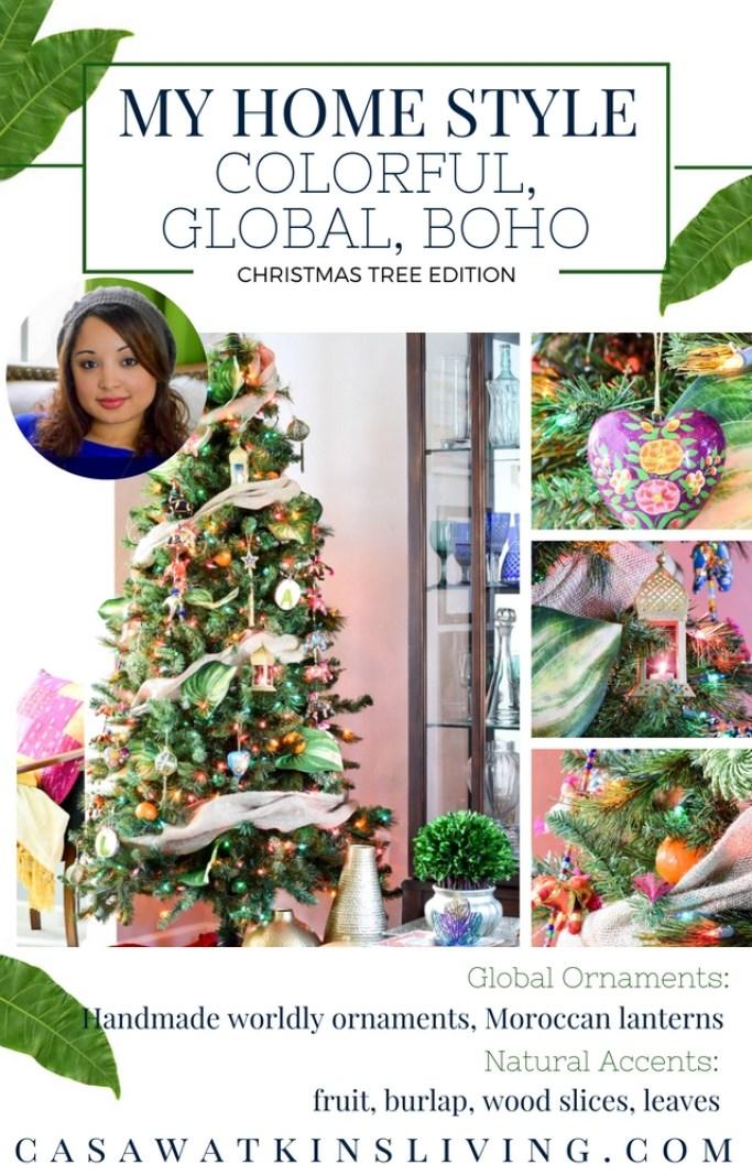 global boho christmas tree with Moroccan and Indian vibes