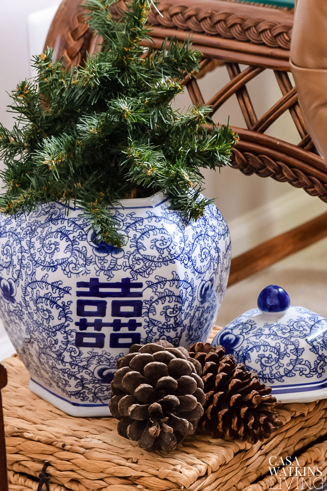 small trunk with chinoiserie christmas decor