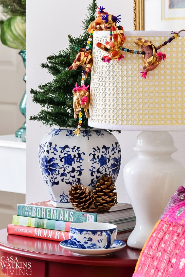 global boho christmas table decor with Indian elephant garland