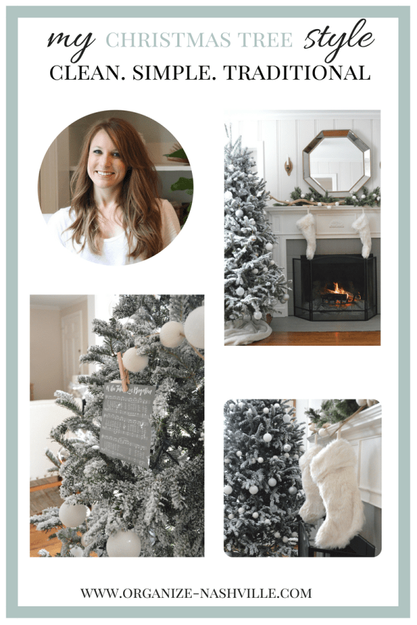 Clean simple sophisticated Christmas tree by Organize Nashville