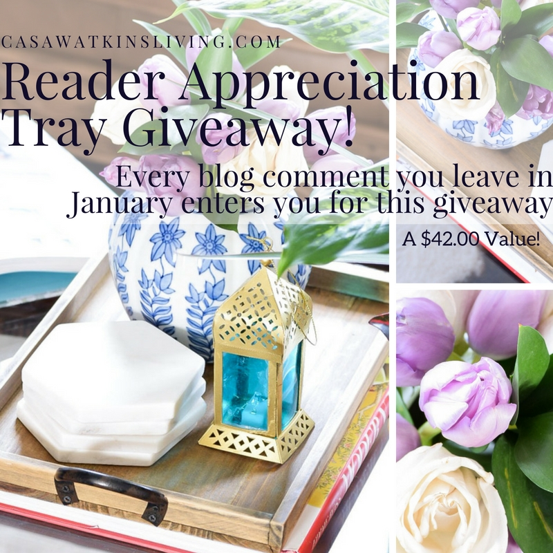 Readers can enter to win a rustic tray this January!  Every comment post you leave is an entry.