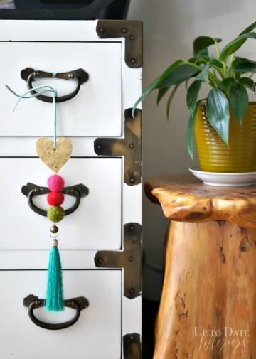 DIY global eclectic knob tassel via Up To Date Interiors