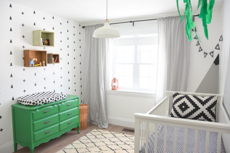 Looking-for-nursery-or-kids-room-decor-ideas-Check-out-this-black-white-and-green-boys-room-with-a-scandi-meets-camp-design.-10