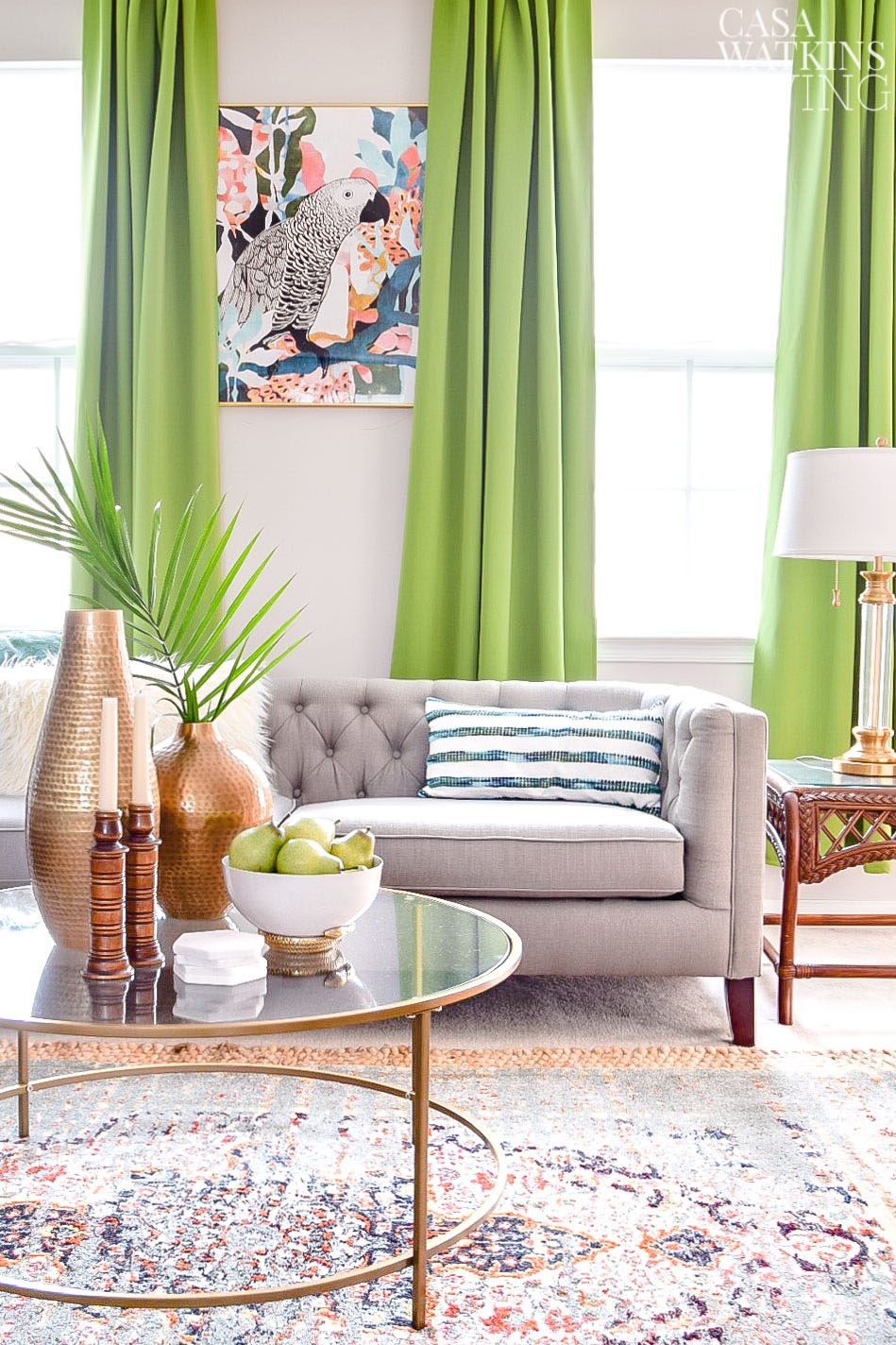 Green and gray global eclectic contemporary style living room