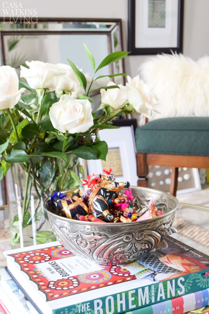 coffee table with bohemian decor