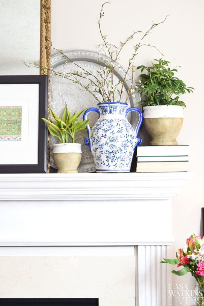 tuscan planters for spring mantel decor