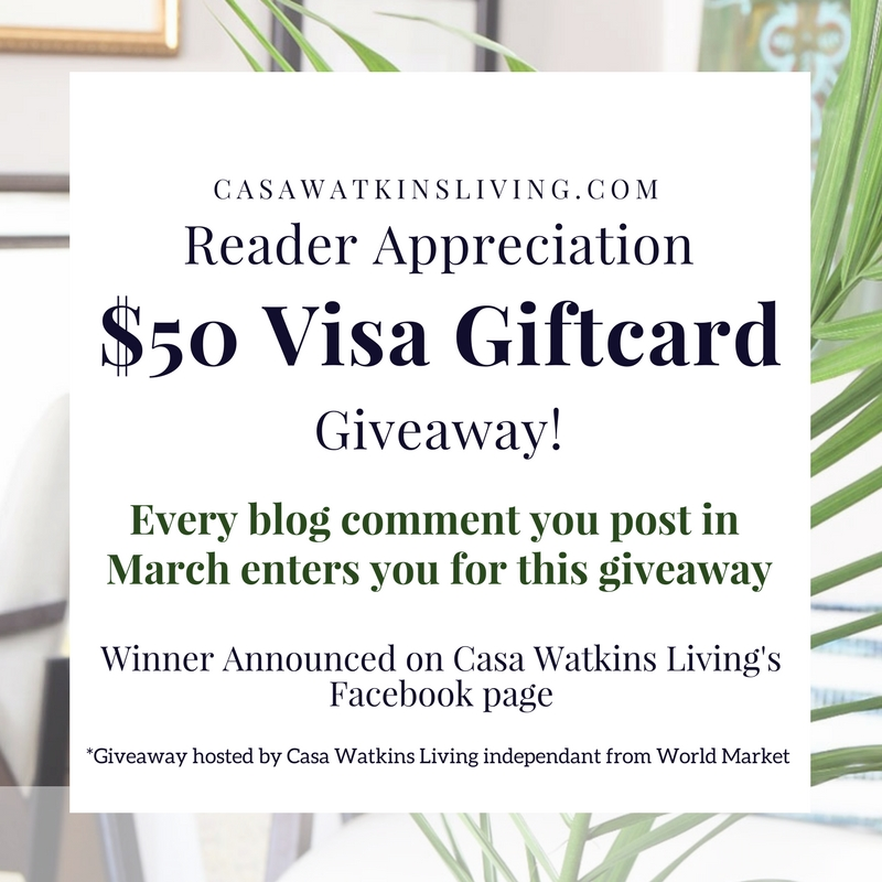 Readers can enter to win a $50 Gift Card this February!  Every comment post you leave is an entry.