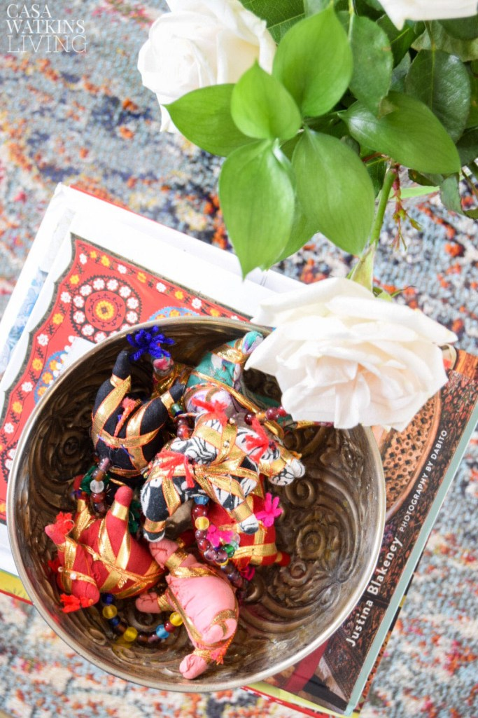 global boho style hammam bowl with indian elephant vase filler