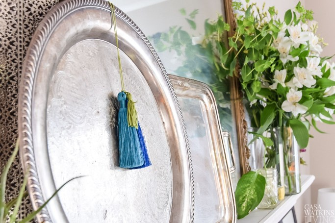 using silver trays as spring decor