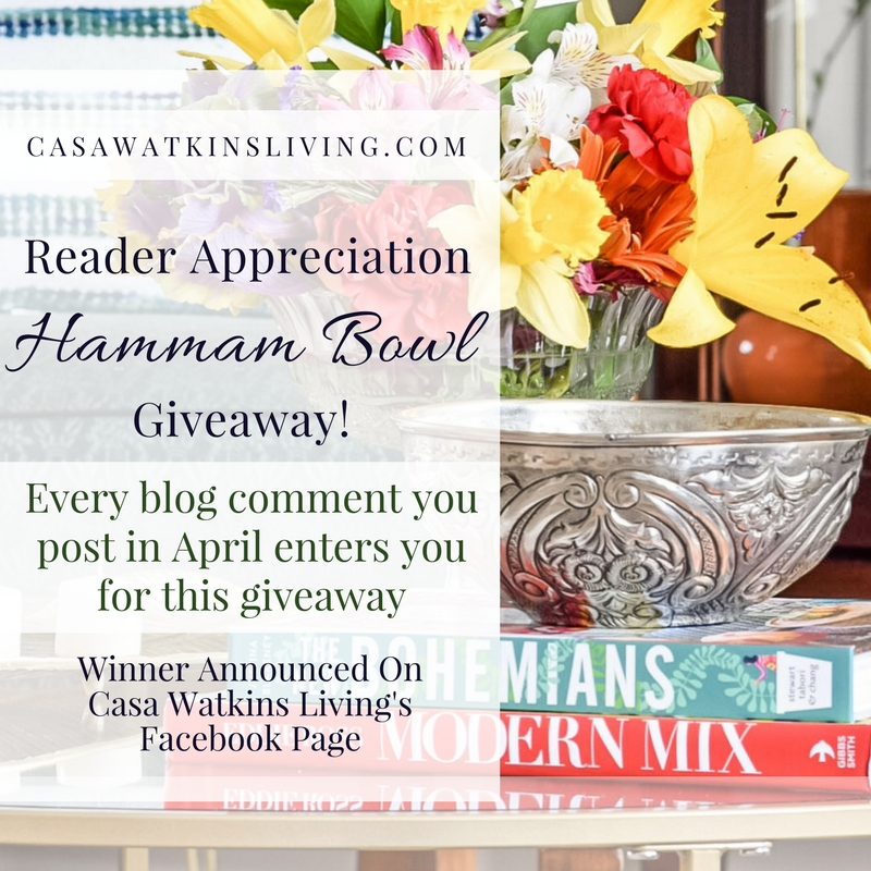Readers can enter to win a Moroccan hammam bowl!  Every comment post you leave is an entry.