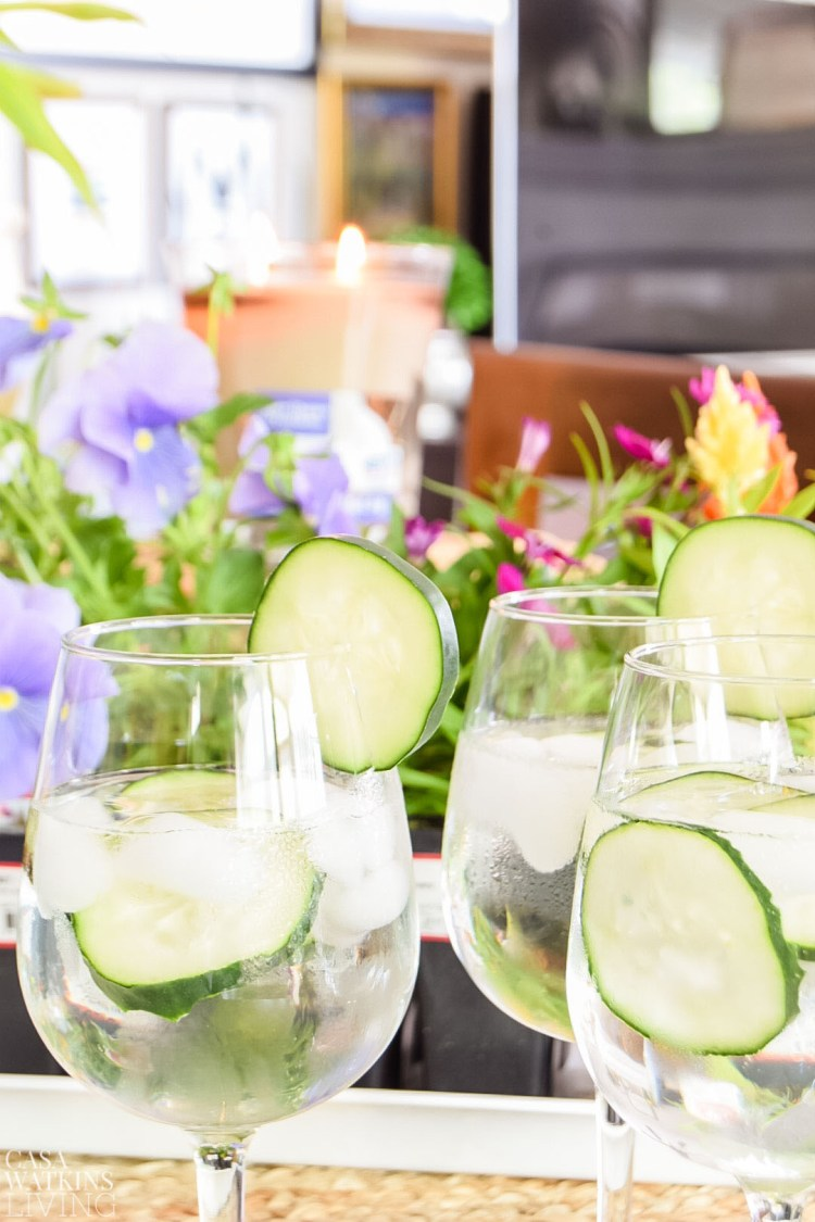 refreshing cucumber water or mother's day event