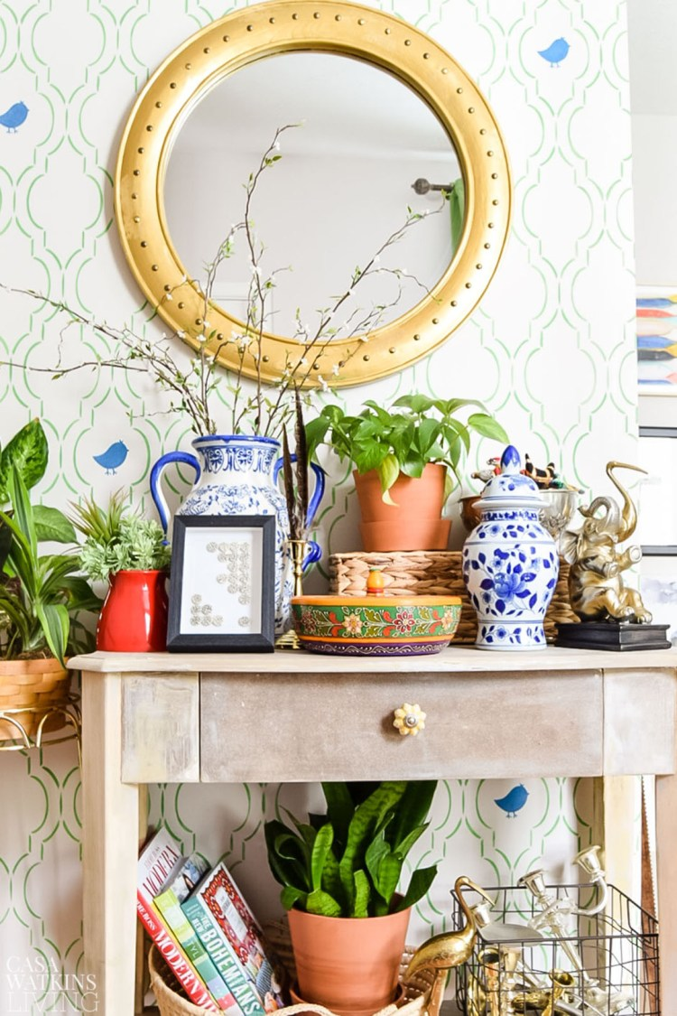 tips for decorating with maximalist style in entryway