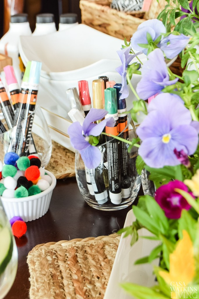 diy craft party ideas for mothers day. Use votive holders for craft supplies