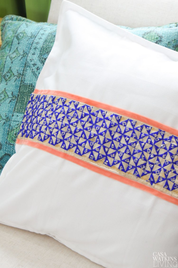 diy no sew pillow cover in global style!