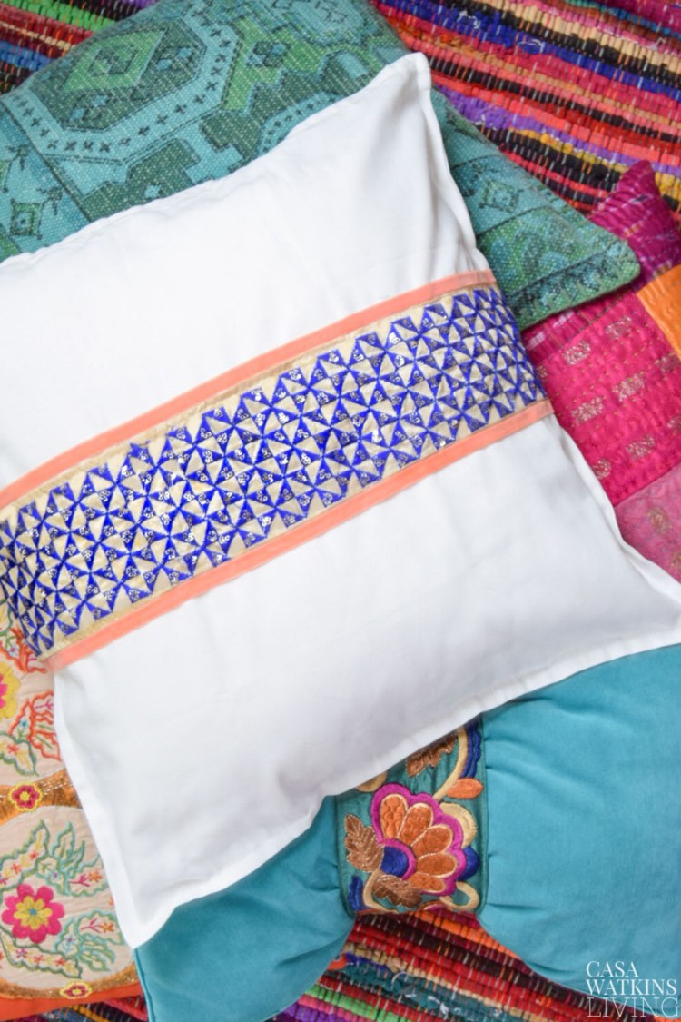 diy no sew bohemian style pillow
