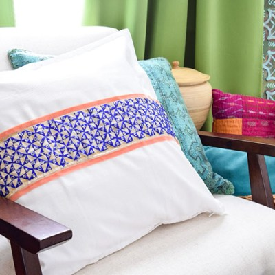 DIY Global Style No Sew Pillow Cover