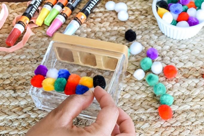 diy pom pom makeup brush holder