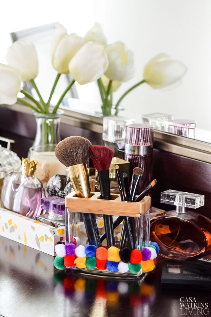 diy pom pom makeup brush holder