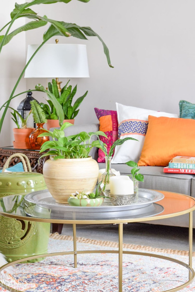 How to use plants for summer table decor casa watkins living morrocan tray on coffee table styled with plants for global style look geotapseo Gallery