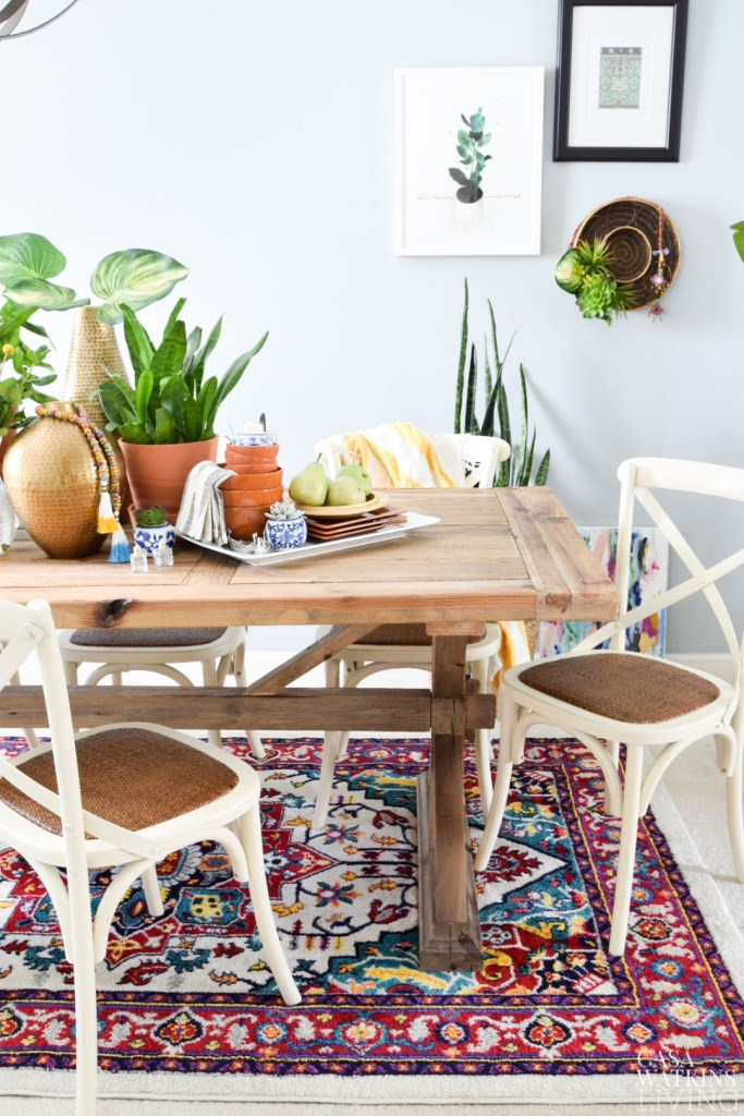 global style table decor with plants