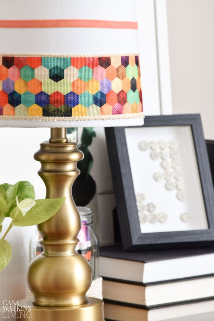 diy global style lamp makeover with ribbon