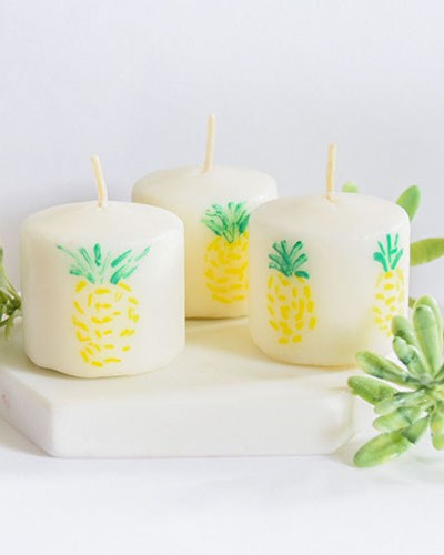 DIY Painted Pineapple Candles