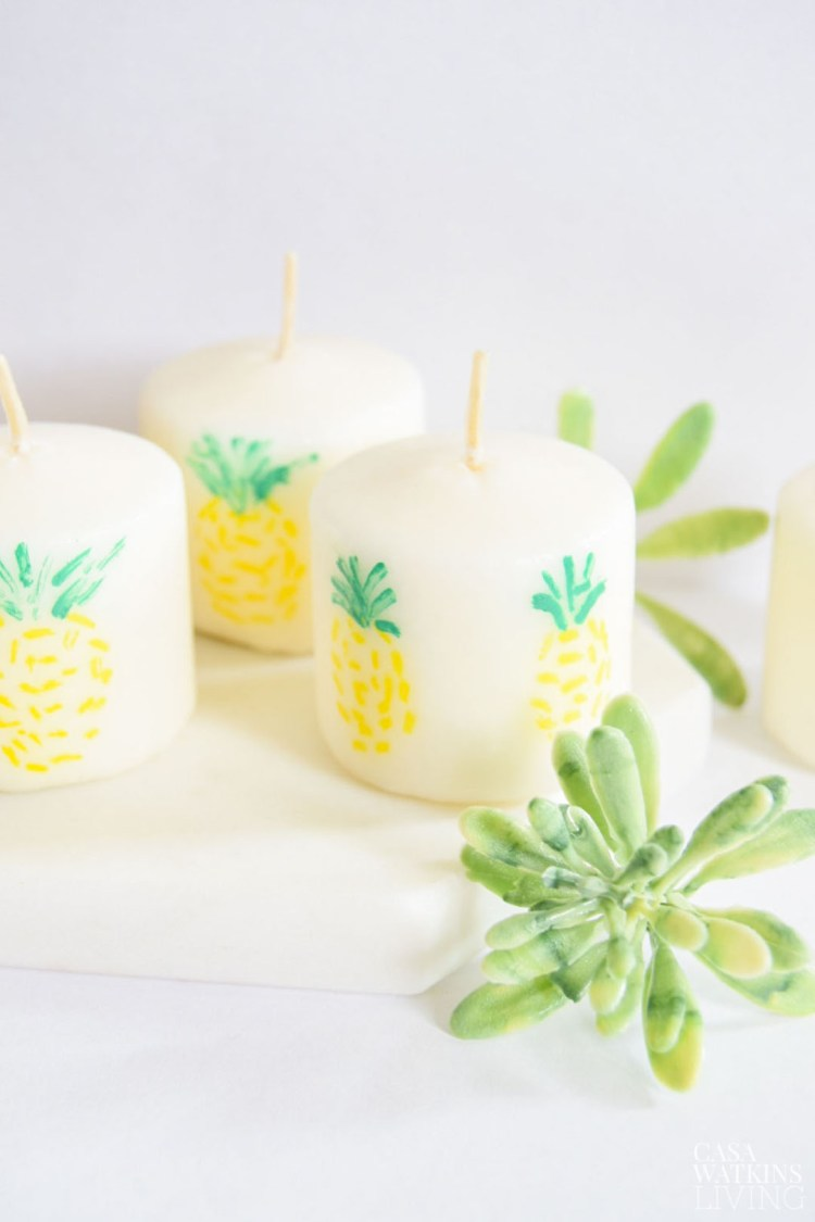 how to paint pineapples on candles