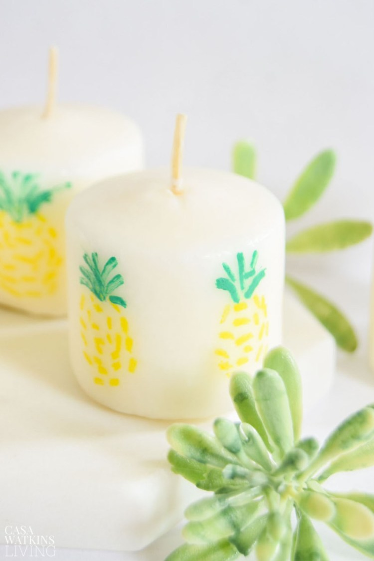 diy painted pineapple candle