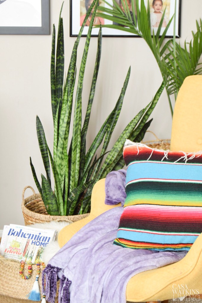 serape pillow in globally styled living room