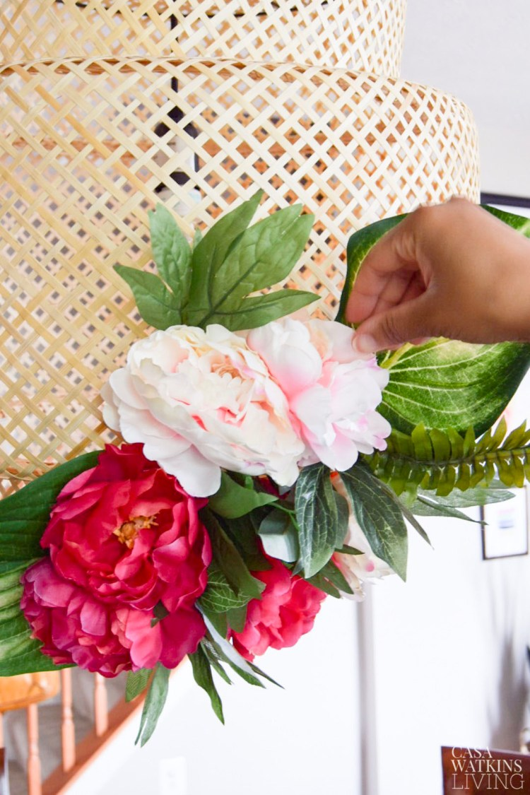 floral bamboo kitchen lamp makeover