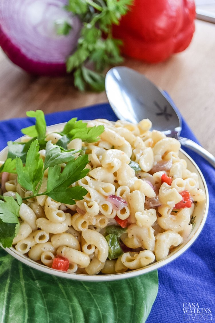 tasty pasta salad with olive oil instead of mayo