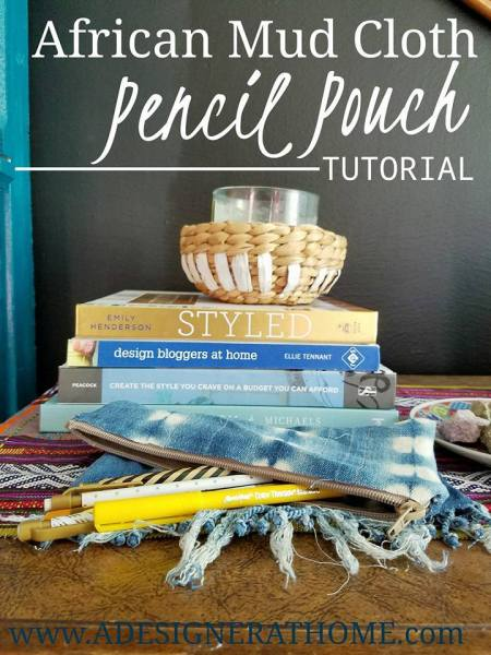 diy mudcloth pencil pouch - A Designer At Home
