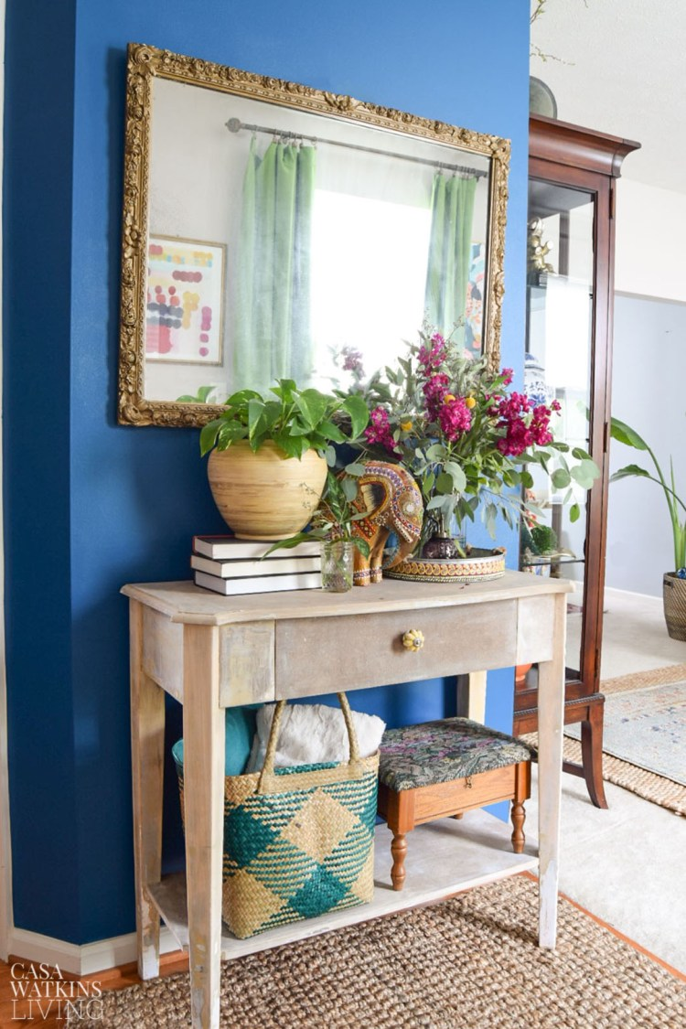 boho chic entryway decorated for fall