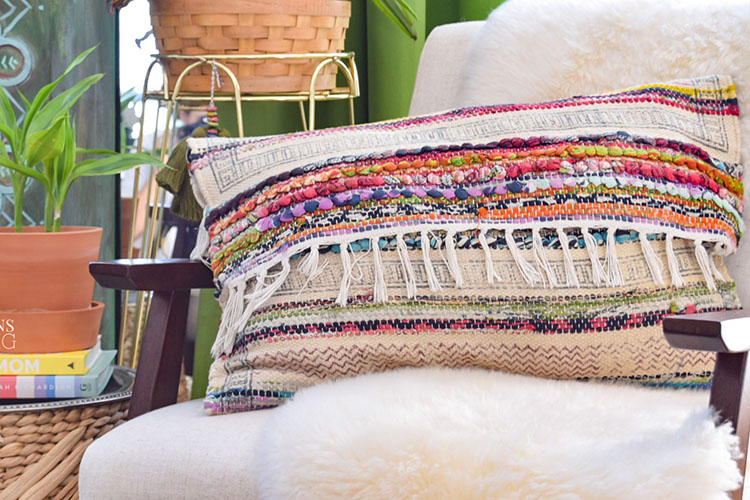 DIY Global Style Pillow From Rug