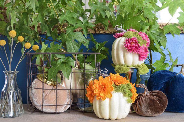 DIY Mossy Floral Pumpkins