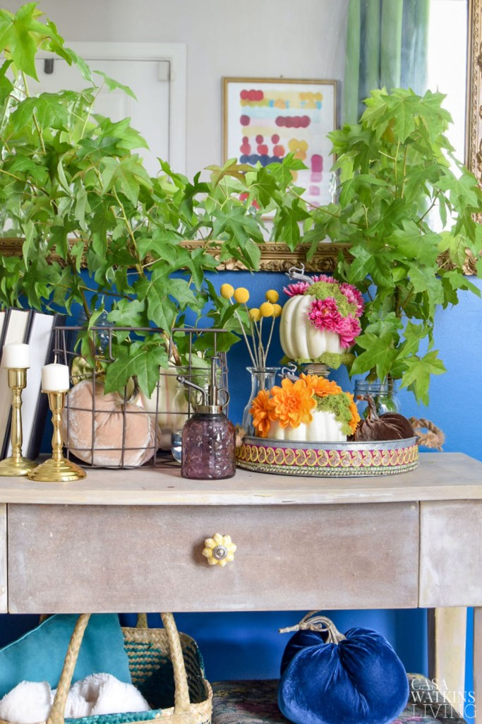 global style entryway with diy pumpkins