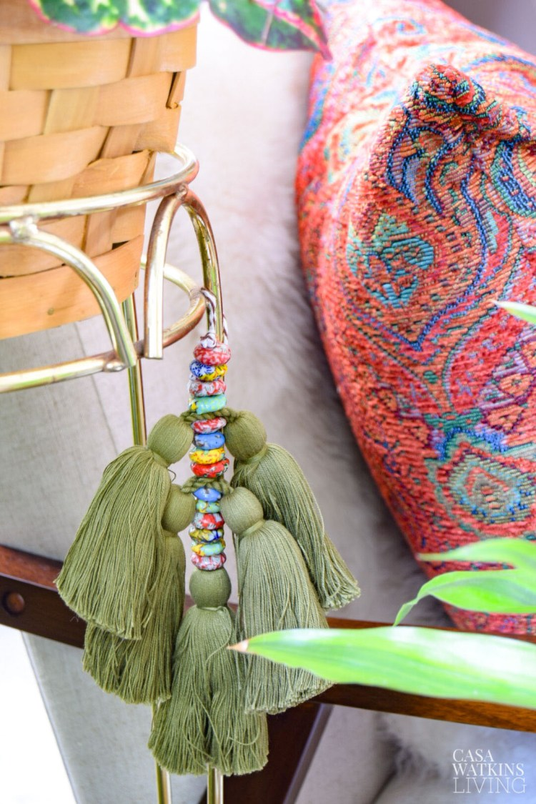 diy decorative beaded tassel on plant stand