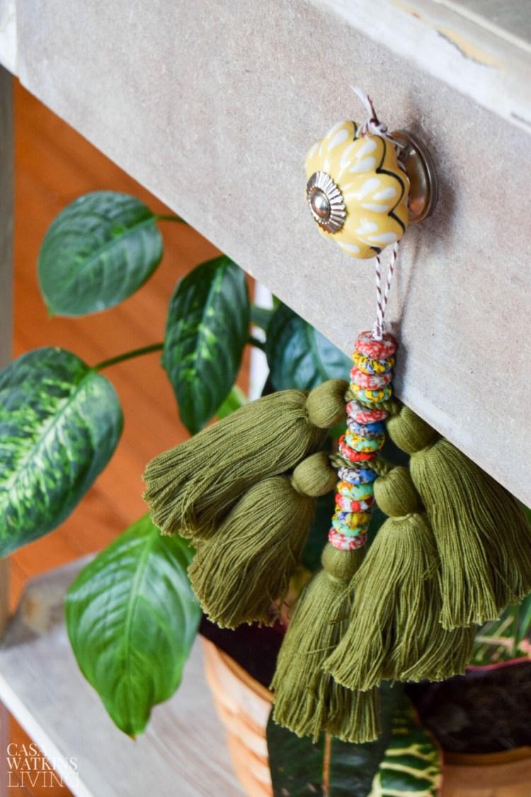 diy knob tassel hanging