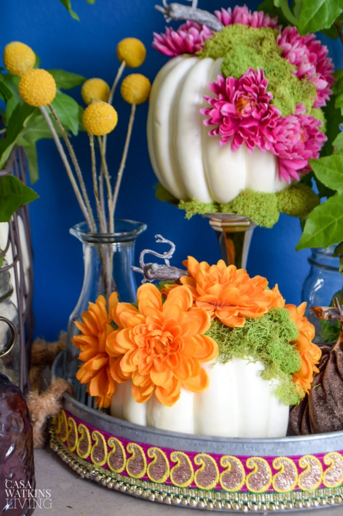 diy white floral pumpkins with moss